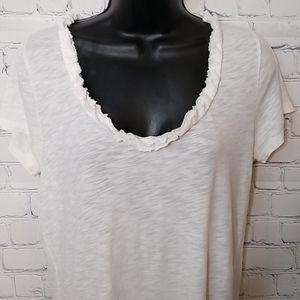 J. Crew cotton short sleeve shirt with ruffle deta